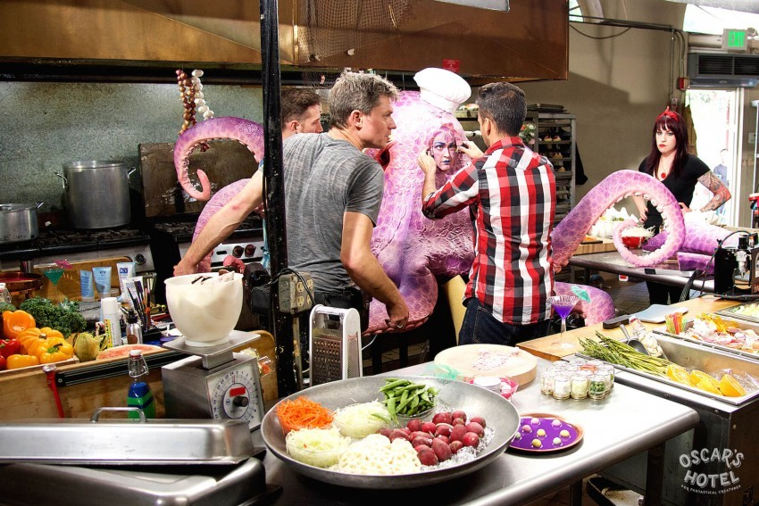 Mamrie Hart as Octo Chef on set